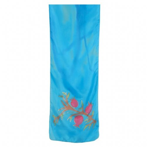 Hand Painted Narrow Pure Silk Scarf Turquoise, Red Pomegranates - Yair Emanuel