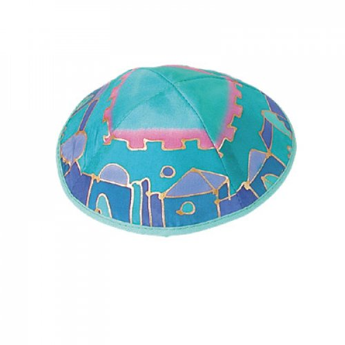 Hand Painted Silk Turquoise Kippah, Jerusalem Images by Yair Emanuel