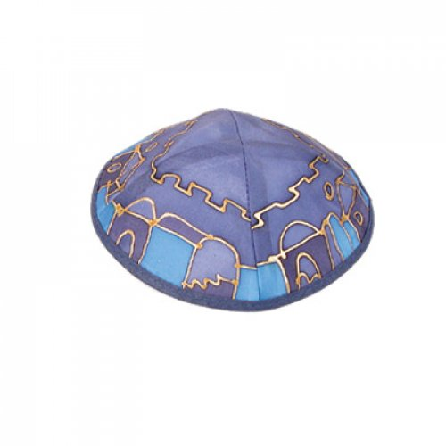 Hand Painted Violet-Blue Silk Kippah,Jerusalem Images - by Yair Emanuel