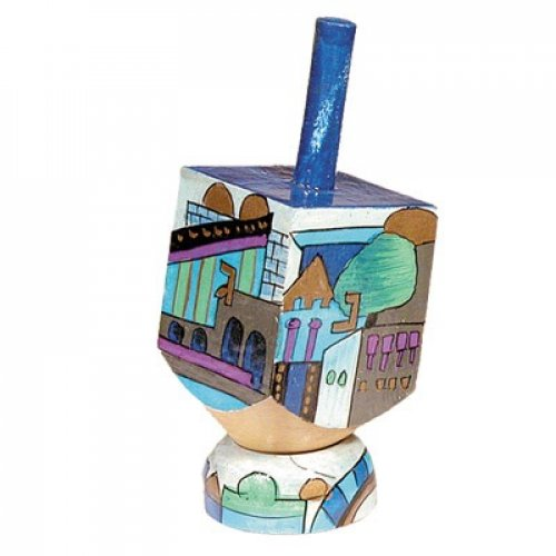 Hand Painted Wood Dreidel on Stand with Blue Jerusalem Images Small - Yair Emanuel