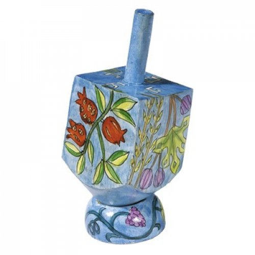Hand Painted Wood Dreidel on Stand with Blue Seven Species Small - Yair Emanuel