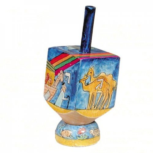 Hand Painted Wood Dreidel with Stand - Noahs Ark by Yair Emanuel