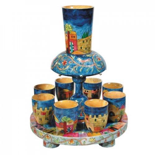 Hand Painted Wood Kiddush Fountain Set with 8 Cups, Jerusalem Design - Yair Emanuel