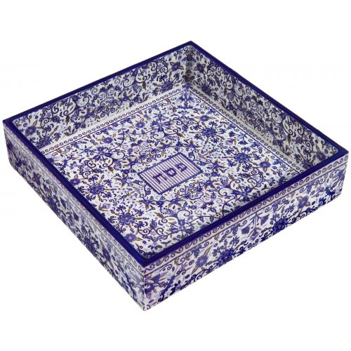 Hand Painted Wood Matzah Tray Floral, Blue - Yair Emanuel