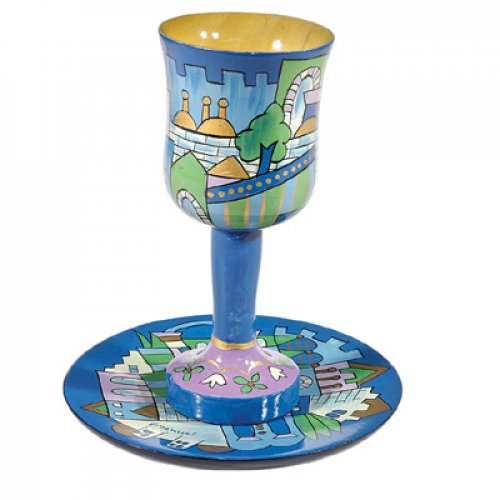 Hand Painted Wood Stem Kiddush Cup and Plate, Blue Jerusalem - Yair Emanuel