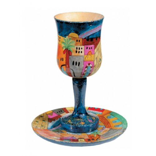 Hand Painted Wood Stem Kiddush Cup and Plate, Jerusalem - Yair Emanuel