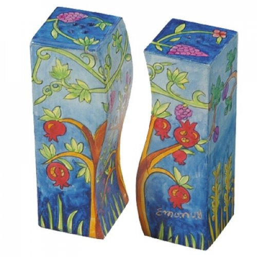 Hand-Painted Wood Fitted Salt & Pepper Shaker, Pomegranates - Yair Emanuel