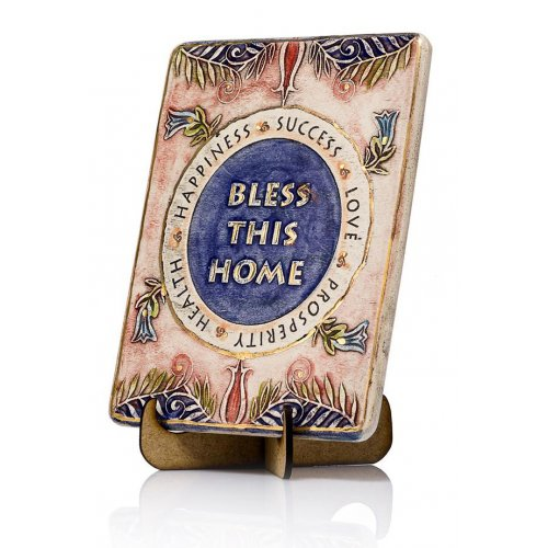 Handcrafted Ceramic 24K Gold Decoration Plaque, House Blessing English - Art in Clay
