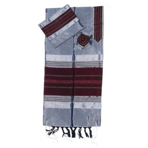 Handwoven Gray Silk Prayer Shawl Tallit Set with Maroon Stripes - Gabrieli