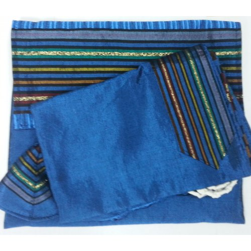 Handwoven Royal Blue Silk Tallit Set with Josephs Coat Stripes - Gabrieli