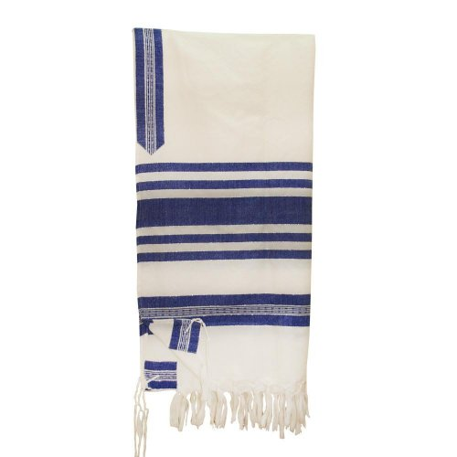 Handwoven White Wool Tallit Set with Blue and Silver Stripes - Gabrieli