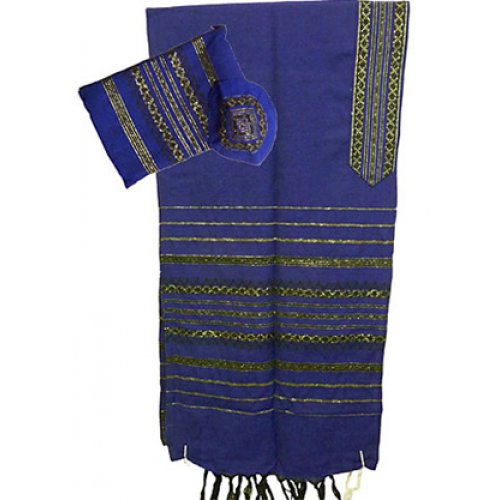 Handwoven Wool Royal Blue Prayer Shawl Set Black and Gold stripes - Gabrieli