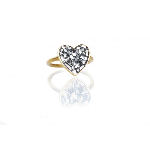 Heart Ring by Chaya Elfassi with rough diamonds