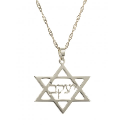 Hebrew Cursive Sterling Silver Name inside Star of David Necklace