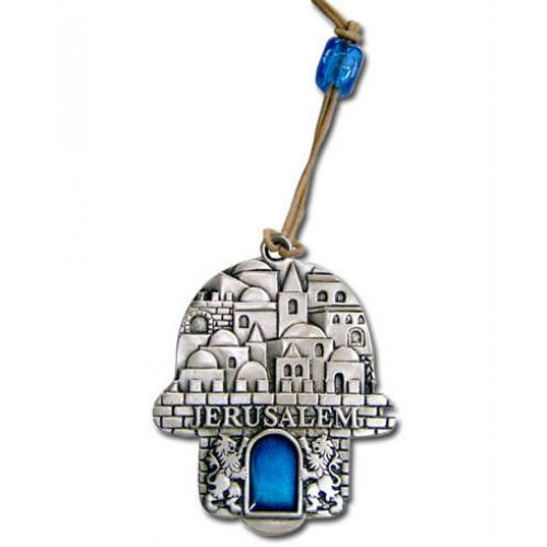 Jerusalem Wall Hamsa with Blue Stone by Yealat Chen