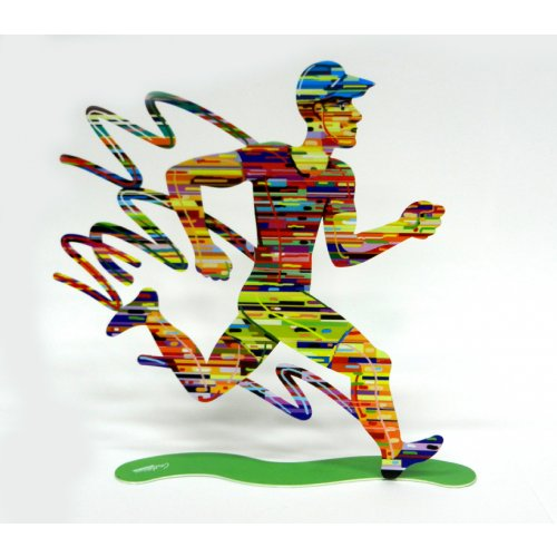 Jogger Man Free Standing Double Sided Runner Sculpture - David Gerstein