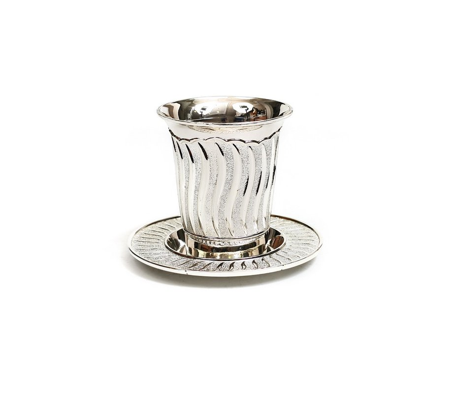 kiddush cup and plate with flame design