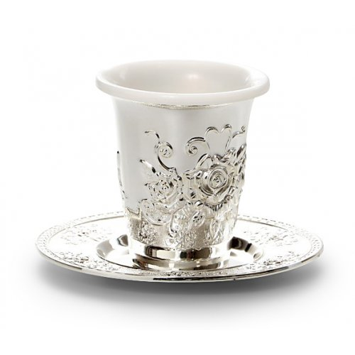 Kiddush Cup with Tray and Plastic Insert - Floral Design