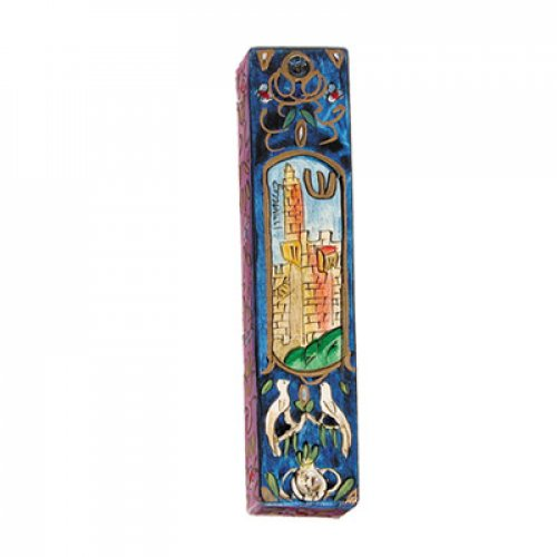 Large Hand Painted Wood Mezuzah Case, Tower of David on Blue - Yair Emanuel