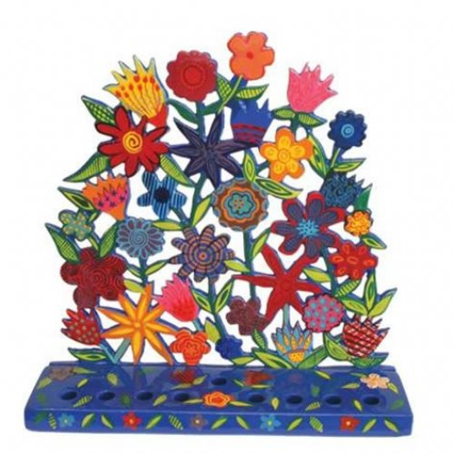 Laser Cut Metal Hanukkah Menorah, Floral Display - Yair Emanuel