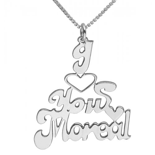 Love you English Name Necklace in Silver