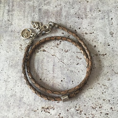 Mans Double Wrap Brown Bracelet with Tube Element - Galis Jewelry