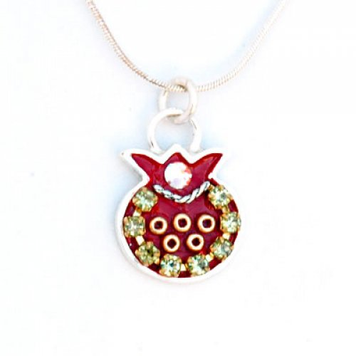 Maroon Pomegranate necklace by Ester Shahaf