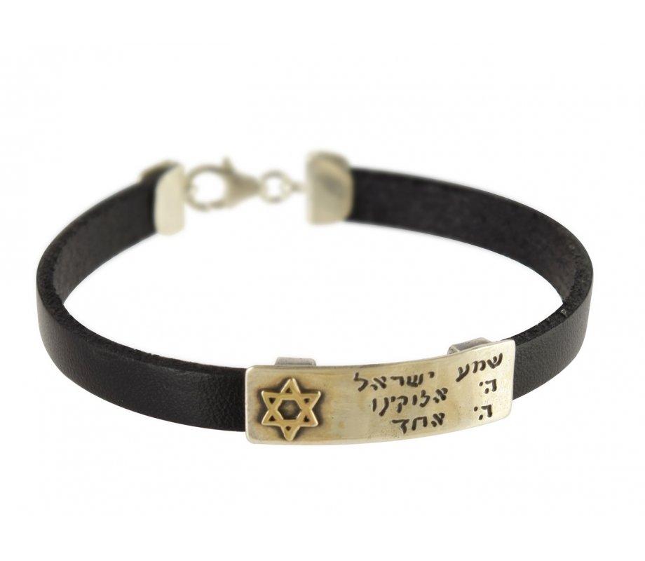 Men Leather Bracelet With Sterling Silver Hebrew Shema Prayer Gold Star Of David Studio Golan