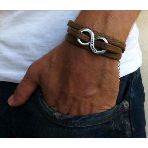 Men's Triple Wrap Brown Bracelet with Infinity Element - Galis