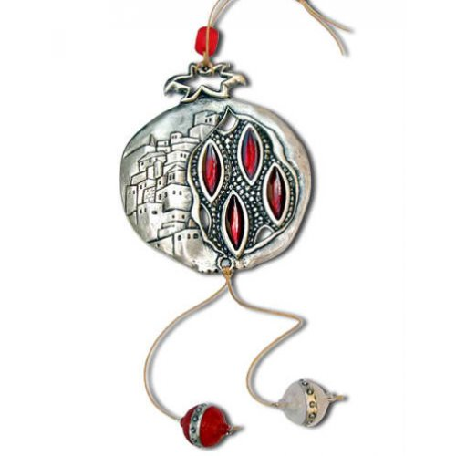 Metal Pomegranate Wall Decoration with Jerusalem Images, Red Stones - Yealat Chen