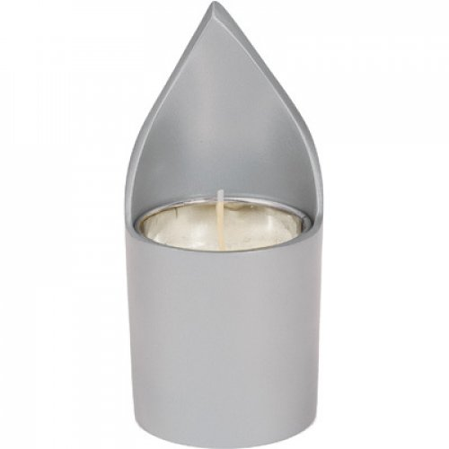 Metal Yahrzeit Memorial Candle Holder, Flame Shaped - Yair Emanuel
