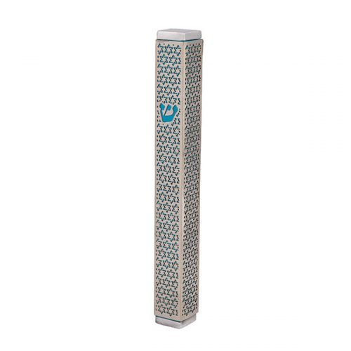 Mezuzah Case with Cutout Star of David, Turquoise - Yair Emanuel