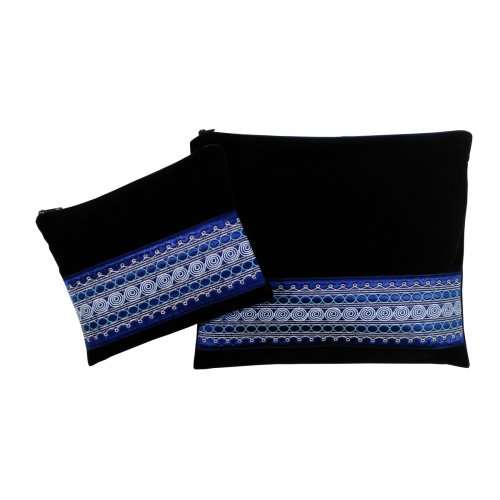 Navy Velvet Tallit and Tefillin Bags Set, Yemenite Style Embroidery - Ronit Gur