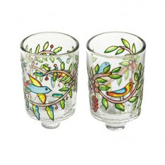 Pair of Stained Glass Colors Candle Holders, Birds - Yair Emanuel