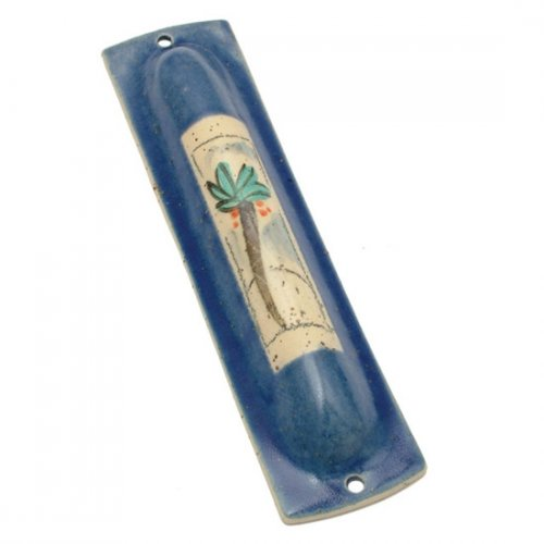 Palm Tree Mezuzah Case by Michal Ben Yosef- Blue
