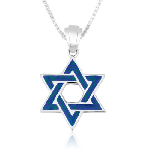 Pendant Necklace, Blue Enamel Star of David – Sterling Silver