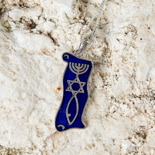 Pendant Necklace Menorah Star and Fish Symbol - Sterling Silver and Blue Enamel