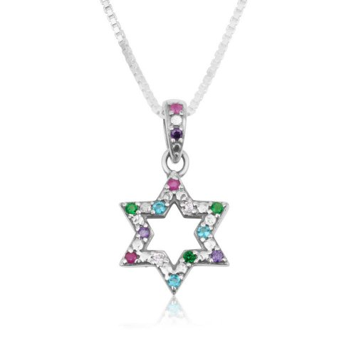 Pendant Necklace, Star of David with Colored Crystals - Sterling Silver