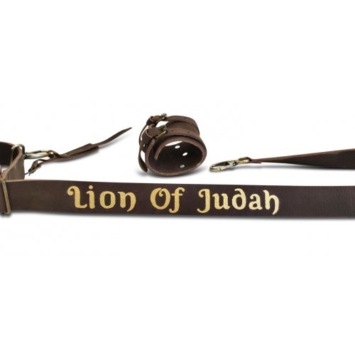 Personalized Leather Shoulder Sling with Custom Name for Carrying Kudu Horn Yemenite Shofar