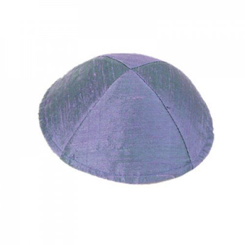 Plain Elegant Raw Silk Blue-Violet Kippah by Yair Emanuel