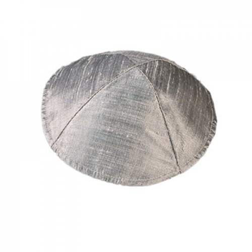 Plain Elegant Raw Silk Silver Grey Kippah by Yair Emanuel