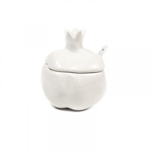 Pomegranate Shaped White Gleaming Ceramic Honey Dish with Lid and Spoon