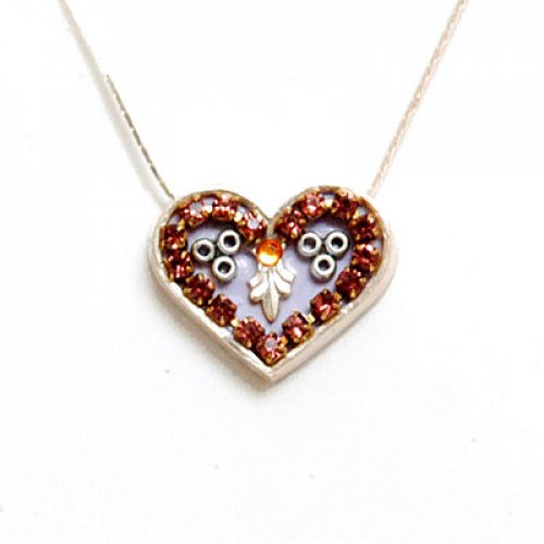 Purple Heart Necklace in Silver by Ester Shahaf