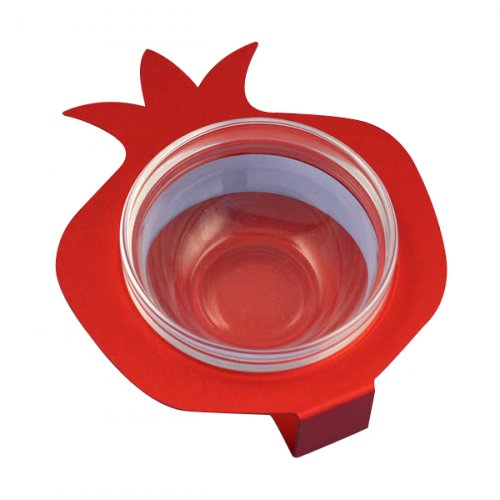 Raised Pomegranate Charoset Dish Red - Aluminum and Glass by Shraga Landesman