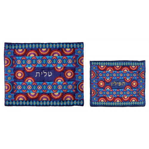 Red & Blue Embroidered Tallit & Tefillin Bag, Stars of David by Yair Emanuel