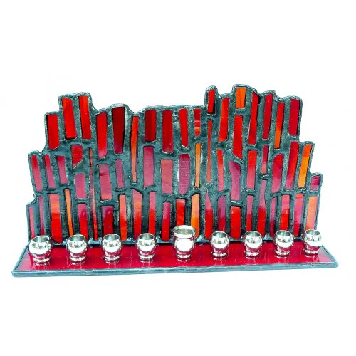 Red Stained Glass Hanukkah Menorah by Friekmanndar