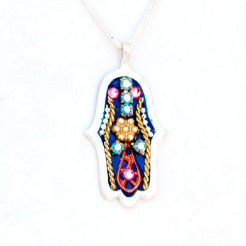 Red-Blue Hamsa Necklace - Ester Shahaf