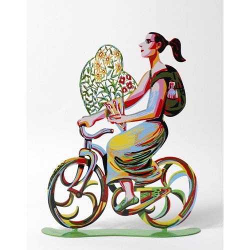 Rider with Flowers Free Standing Double Sided Bicycle Sculpture - David Gerstein