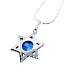 Roman Glass 925 Sterling Silver Necklace with Star of David Polished Finish