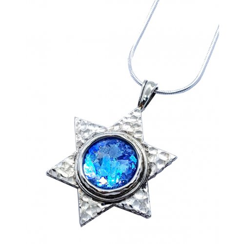 Roman Glass Hammered 925 Sterling Silver Necklace with Star of David